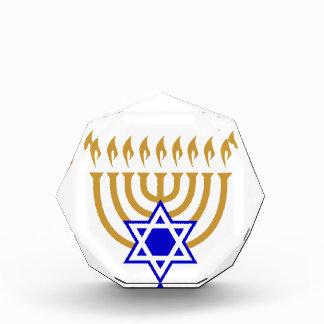 金ゴールドの(ユダヤ教)メノラーの青いダビデの星 表彰盾