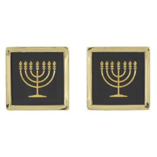 金ゴールドの(ユダヤ教)メノラー ゴールド カフスボタン