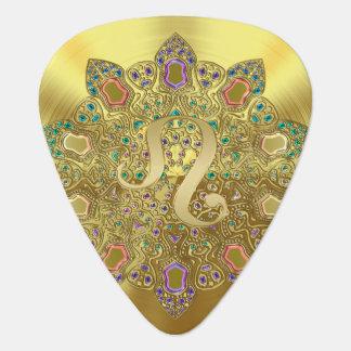 金ゴールドの(占星術の)十二宮図の印のレオの曼荼羅のモノグラムのギターピック ギターピック