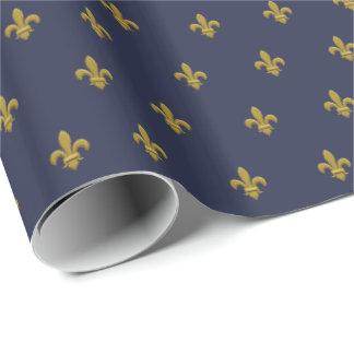 金ゴールドの(紋章の)フラ・ダ・リの男らしいギフト用包装紙の男性への青 ラッピングペーパー