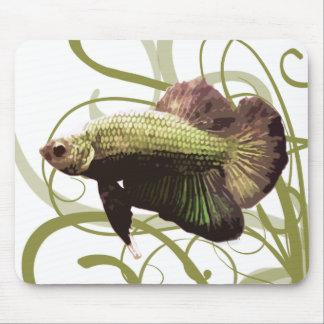 金ゴールドのBettaのシャムの戦いの魚 マウスパッド