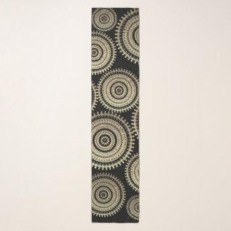 金ゴールドのBohoの種族の円の曼荼羅の金属効果 スカーフ