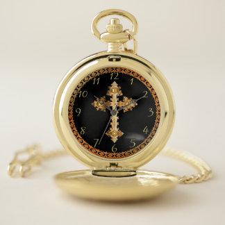金ゴールドのchristainの十字架像の十字のデザイン10 ポケットウォッチ