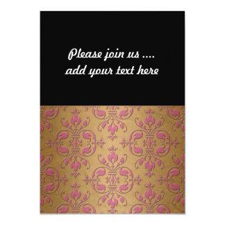 金ゴールドのDamsaskパターン上のかわいいピンク カード