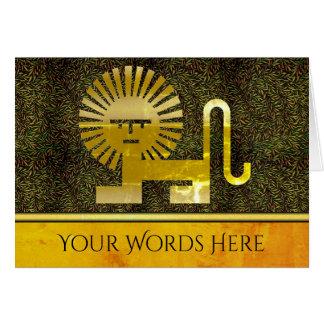 金ゴールドのDecoのライオンのあなたの単語 カード