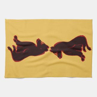 金ゴールドのDishtowelsの近代美術の野生動物の抽象芸術 キッチンタオル