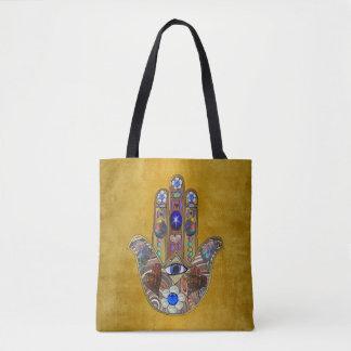 金ゴールドのHamsaのハートの花のオパールの芸術 トートバッグ