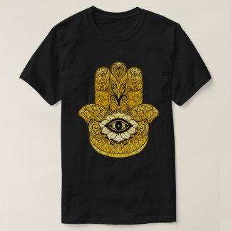 金ゴールドのHamsaの記号のインディの芸術のグラフィックのティー Tシャツ