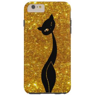 金ゴールドのiPhone 6のプラスの堅い場合の黒猫 Tough iPhone 6 Plus ケース