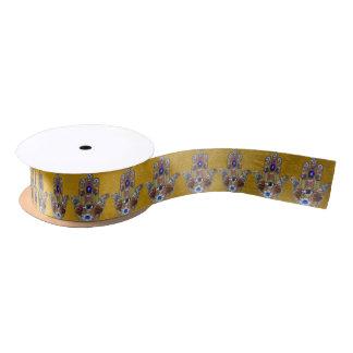 金ゴールドのJudaica Hamsaのハートの花のオパールのプリント サテンリボン