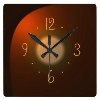 金ゴールドのNumerals>の明白な時計を持つ大気タン スクエア壁時計