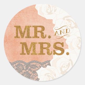 金ゴールドのSticker珊瑚のレースおよびバラ氏および夫人 ラウンドシール