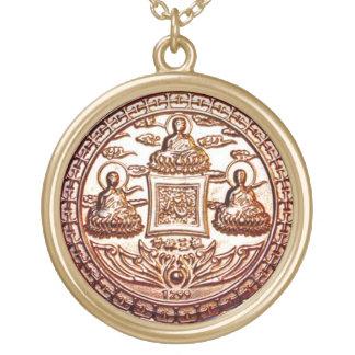 金ゴールドのTrikaya仏の奇跡の護符 ゴールドプレートネックレス