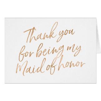 """金ゴールドはであることのために上がりました""""感謝していしています私のメイド・オブ・オーナー(花嫁付き グリーティングカード"""