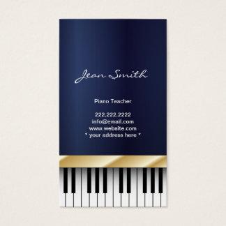 金ゴールドはピアノの教師の濃紺の名刺を縞で飾ります 名刺