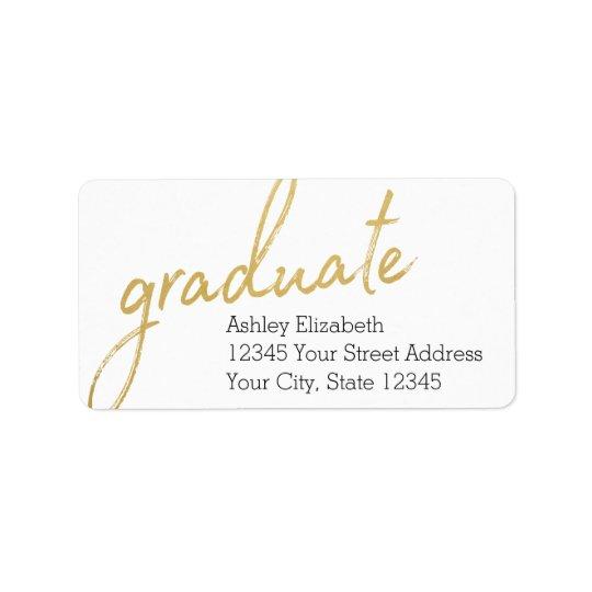 金ゴールドはモダンな卒業の差出人住所を卒業させます ラベル