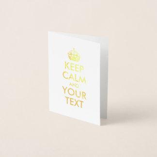 金ゴールドは平静およびあなたの文字を保ちます 箔カード