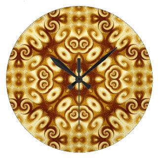 金ゴールドは幾何学的なオーナメントの回転パターンを抽出します ラージ壁時計