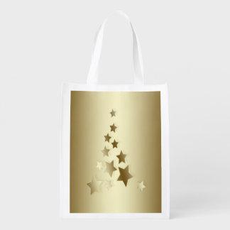 金ゴールドは木を星、クリスマスからなされて着色しました エコバッグ