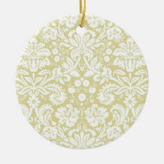 金ゴールドは花のダマスク織を空想します セラミックオーナメント