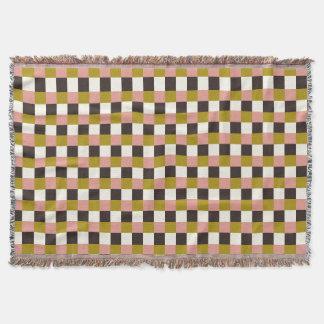 金ゴールドピンクチョコレートアイボリーの格子縞 スローブランケット