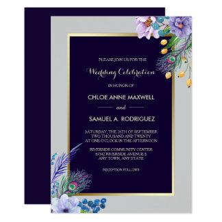 金ゴールドフレームの青いBohoの花柄の結婚式招待状 カード