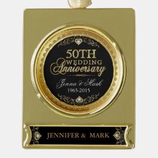 金ゴールドフレーム及び炉第50の結婚記念日2 ゴールドプレートバナーオーナメント