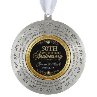 金ゴールドフレーム及び炉第50の結婚記念日 オーナメント