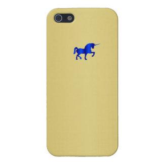 金ゴールドプレートのIphone 5の場合の青いユニコーン iPhone SE/5/5sケース