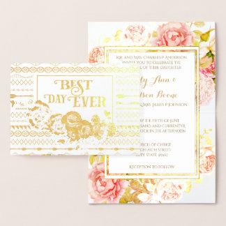 金ゴールドホイルのばら色のアステカなタイポグラフィの結婚式招待状 箔カード