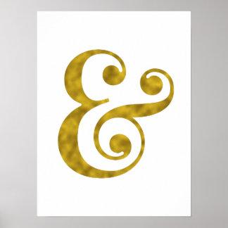 金ゴールドホイルのアンパーサンドの芸術のプリント ポスター
