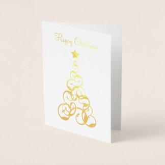 金ゴールドホイルのクリスマスツリーの挨拶状 箔カード