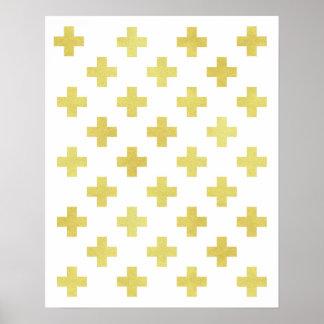 金ゴールドホイルのスイスの十字の芸術のプリントのモダンのミニマリスト ポスター