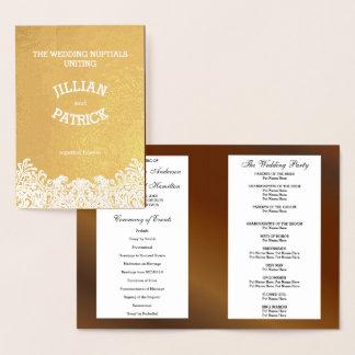 金ゴールドホイルのダマスク織のクルミの結婚式プログラムのテンプレート 箔カード
