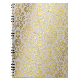 金ゴールドホイルのダマスク織 ノートブック