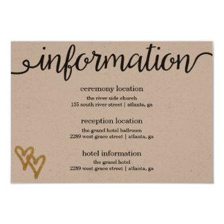 金ゴールドホイルのハートのクラフト紙の情報カード カード