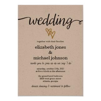 金ゴールドホイルのハートのクラフト紙の結婚式招待状 カード