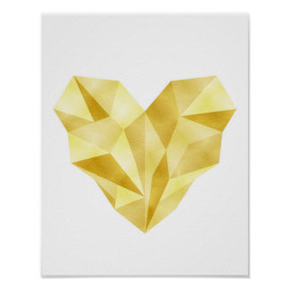 金ゴールドホイルのハートの幾何学的なハートポスター ポスター