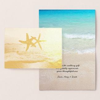 金ゴールドホイルのヒトデのビーチ結婚式はノート感謝していしています 箔カード