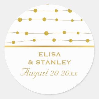 金ゴールドホイルのビーズのモダンな結婚式の保存日付 ラウンドシール