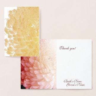 金ゴールドホイルのピンクの菊の結婚式は感謝していしています 箔カード