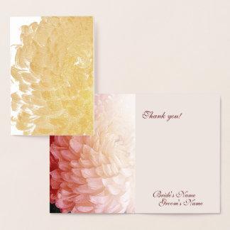 金ゴールドホイルのピンクの菊の結婚式は#2感謝していしています 箔カード