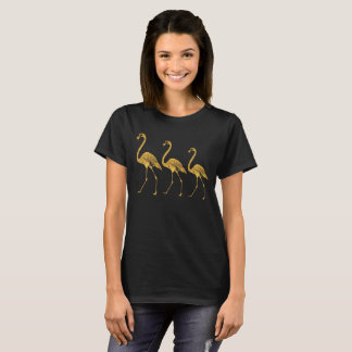 金ゴールドホイルのフラミンゴ Tシャツ