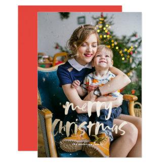 金ゴールドホイルのメリークリスマスの写真カードのどホイル カード