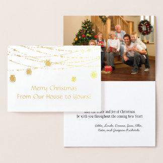 金ゴールドホイルのメーソンジャーのひもは写真のクリスマスをつけます 箔カード
