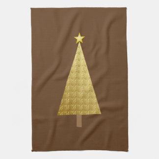 金ゴールドホイルのモダンなクリスマスツリー キッチンタオル