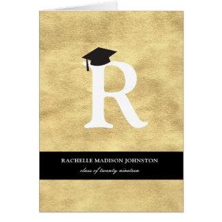金ゴールドホイルのモノグラムの卒業の発表カード グリーティングカード