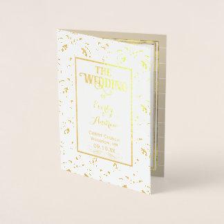 金ゴールドホイルのヴィンテージのダマスク織の結婚式プログラム 箔カード