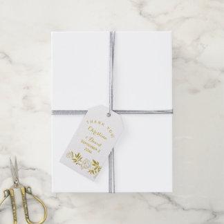 金ゴールドホイルのヴィンテージの花の白い結婚式は感謝していしています ギフトタグパック