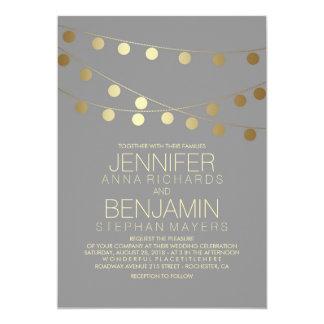 金ゴールドホイルの効果のひもは結婚式をつけます カード